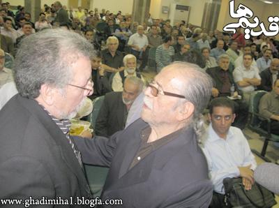 محمدعلی کشاورز و بهمن مفید در مراسم ختم شادروان حمیده خیرآبادی
